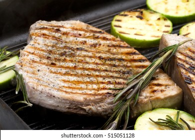 Grilled swordfish with rosemary and courgettes