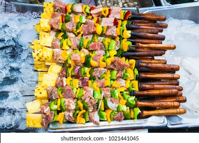Grilled Thai skewers on the steet of Phi Phi island, Thailand.