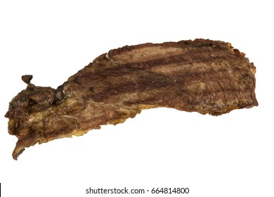 Grilled thin cut slice of boneless Beef steak 3. Isolated, narrow Aperture shot especially for texture use. Left side.