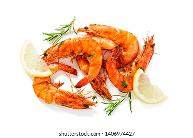 Grilled tiger shrimp with  lemon . isolated on white background