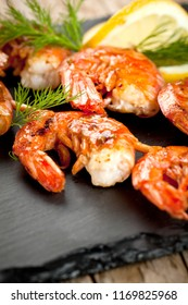 Grilled tiger shrimps with spiced and lemon