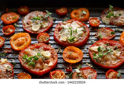 Grilled tomato slices with mozzarella cheese, garlic, spices and herbs on the grill plate, close-up. Vegetarian grilled food