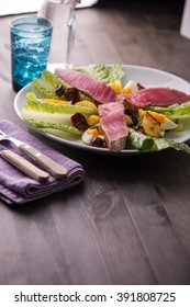 Grilled tuna salad nicoise with fresh tuna