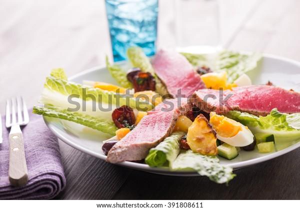 Grilled tuna salad nicoise with fresh tuna