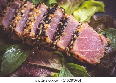 Grilled Tuna Steak with Salad and Hot Wasabi Sauce