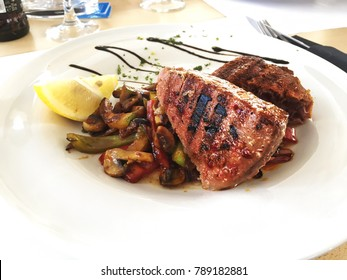Grilled Tuna Steak With Vegetables.