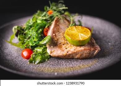 Grilled Tuna steak with wakame salad