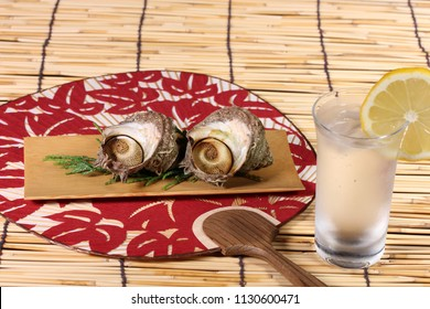Grilled turban shell and drink