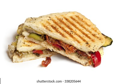 Grilled vegetable focaccia or panini isolated on white.  Delicious healthy sandwich.