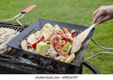 Grilled vegetable grilled pan