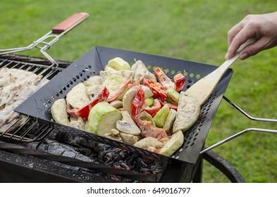Grilled vegetable grilled pan