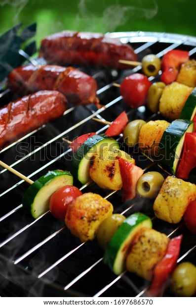 Grilled vegetable shish kebab on barbecue