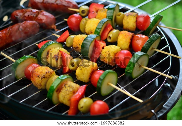 Grilled vegetable shish kebab on barbecue