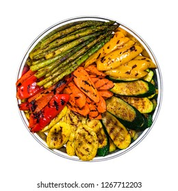 Grilled Vegetable Veggie Platter Isolated on white. Selective focus.