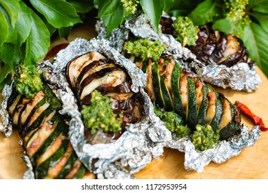 grilled vegetables with bacon