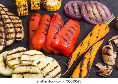 Grilled vegetables ( eggplant paprika zucchini carrots onions corn mushrooms beets )