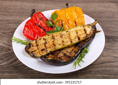 Grilled vegetables - eggplant, zucchini and pepper with rosemary