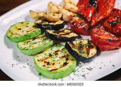 grilled vegetables. Garnish