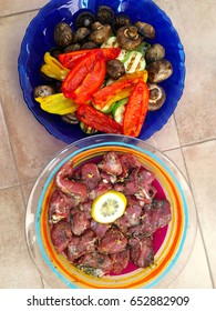 Grilled vegetables including zucchini, peppers and mushrooms.Vertical shot.