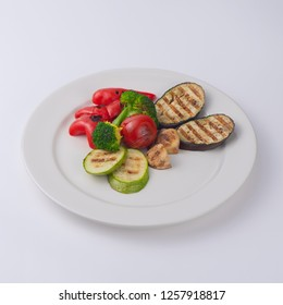 Grilled vegetables isolated on white background. Vegetarian.