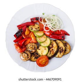 Grilled vegetables. Isolated on a white background.