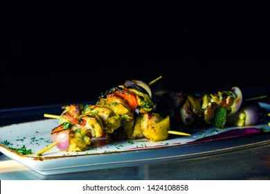 Grilled vegetables Malai tikka kebab, indian style Paneer Tikka,