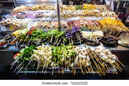 Grilled vegetables and meat at Alor Street Food Night Market in Kuala Lumpur, Malaysia