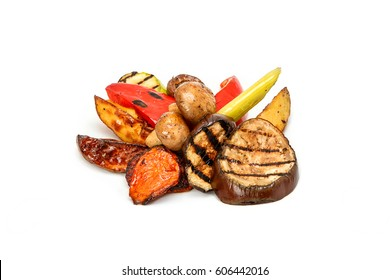 Grilled vegetables and grilled mushrooms on a white background