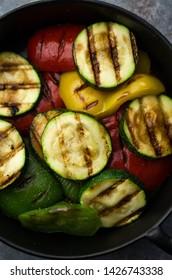 Grilled vegetables on iron skillet