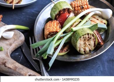Grilled Vegetables. Grilled vegetables on a plate.