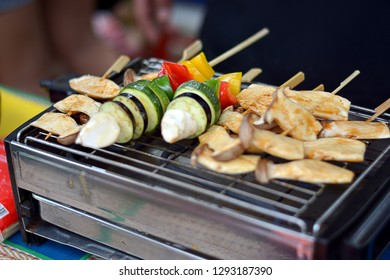 Grilled vegetables on stove