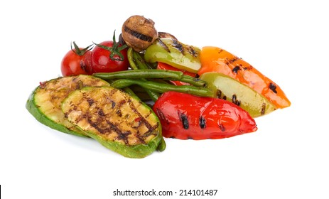 grilled vegetables on a white background