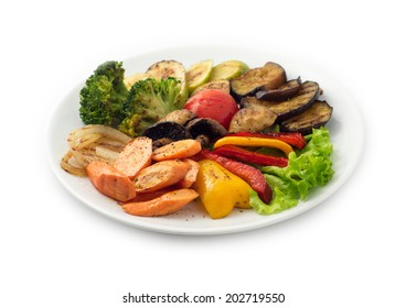 grilled vegetables on the white plate