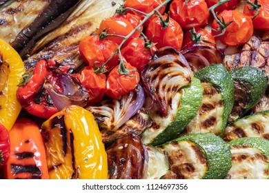 Grilled vegetables platter on a summer barbecue