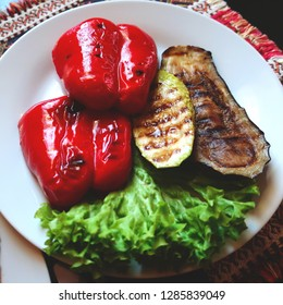 Grilled vegetables - red pepper, zucchini, eggplant and lettuce