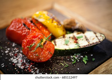 Grilled vegetables. Tomato, zucchini paprika and potatoes
