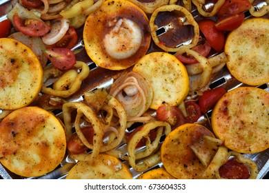 Grilled vegetables . vegetable strips. Grilled paprika, eggplant .healthy meal