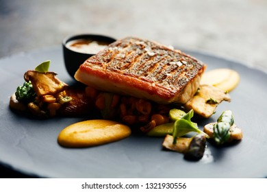grilled white fish fillet with mushrooms