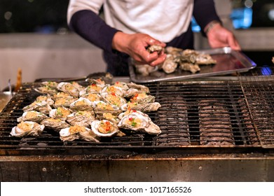 GrilledOysters on a Chinese Street Food Stall