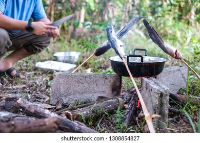 Grilling fish and boiling cooking pot with soup on campfire.