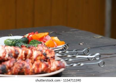 grilling kebab meat
