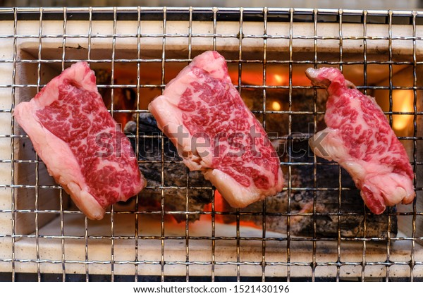 Grilling meat japanese bbq fire waguy meat
