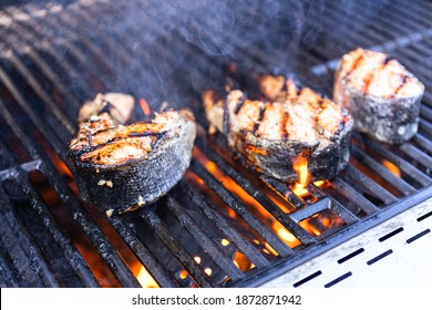 Grilling salmon steaks on an outdoor gas grill.