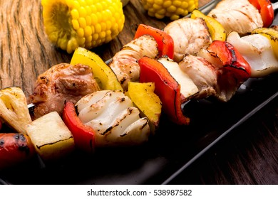 Grilling shashlik , meat skewersand vegetable