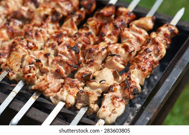 Grilling shashlik on barbecue grill with delicious meat