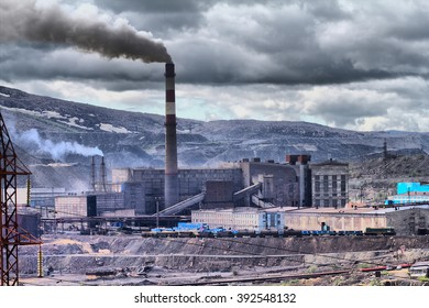 Grim picture of human activity. Catastrophic pollution of atmosphere and transformation of the Earth's surface. Copper-Nickel mill
