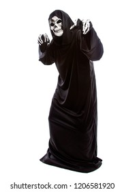 The grim reaper or death halloween costume isolated on a white background.  The skeleton is wearing a hooded black robe. He is doing funny scary poses.