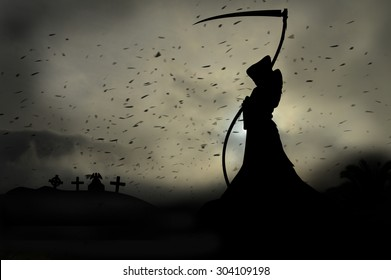 grim reaper in graveyard
