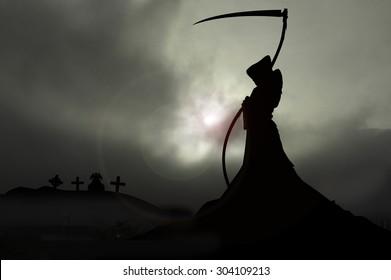 grim reaper overlooking graveyard
