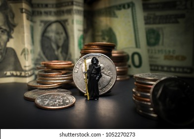 Grim reaper with pile of cash symbolizing the evil of money